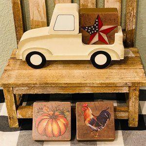 5 Piece Wooden Seasonal Truck Block Set